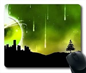 Meteor Shower Over The City Oblong Shaped Mouse Mat