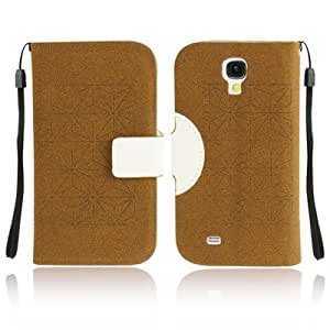 color 2 Series-Diamond Texture Horizontal Leather Case Funda Flip Cover con bolsillos internos Credit & Holder & Lanyard para Samsung Galaxy S4 i9500/(White Coffee)