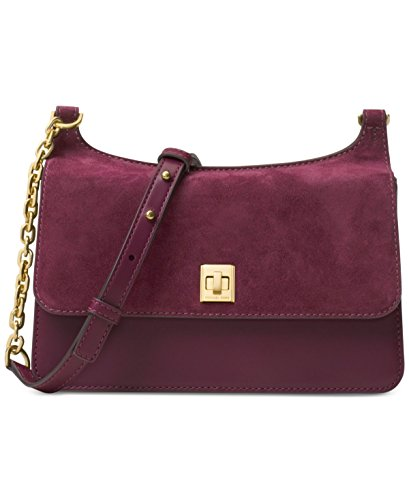 MICHAEL Michael Kors Womens Natalie Suede Messenger Handbag Purple - Kors Michael Card Credit Store