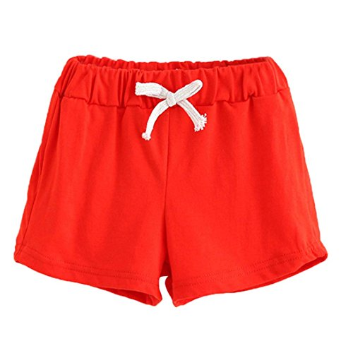 Sikye Summer Unisex Children Cotton Shorts,Fashion Baby Boys And Girl Pants (Size:2T, - Eyewear Label Red