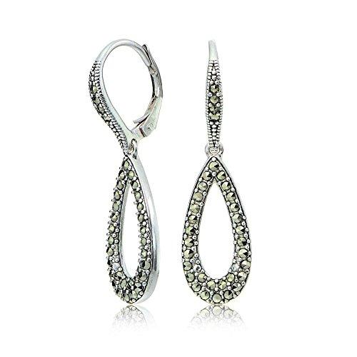 Sterling Silver Marcasite Open Teardrop Dangle Leverback - Marcasite Earrings Teardrop