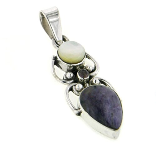 Genuine Russian Charoite, Mother of Pearl, and Amethyst Gemstone Sterling Silver Slide - Amethyst Genuine Silver Slide Sterling