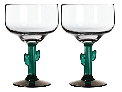 (Margarita Glasses W/Cactus Green Decor Stem Lot Of Two 16 oz New)