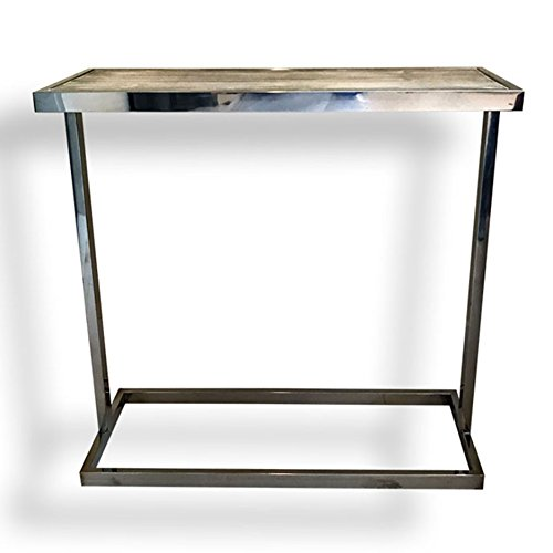 WHW Whole House Worlds Crosby Street Console Side Table, Polished Stainless Steel with Bleached Driftwood-Gray Pine Inset, 27 Inches Tall