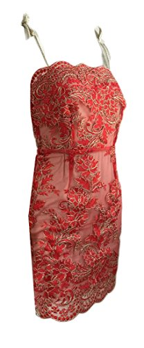 Strap Lace Dress Cromoncent Red Sexy Womens Mini Embriodery Bodycon Club Spaghetti Rw1Xtq1