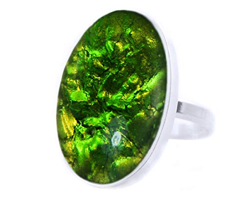 4 Elements Collection, Earth, Peridot Green Crystal, 925 Sterling Silver Oval Classic Ring, Size 16 US 7.75, Handmade BohemStyle