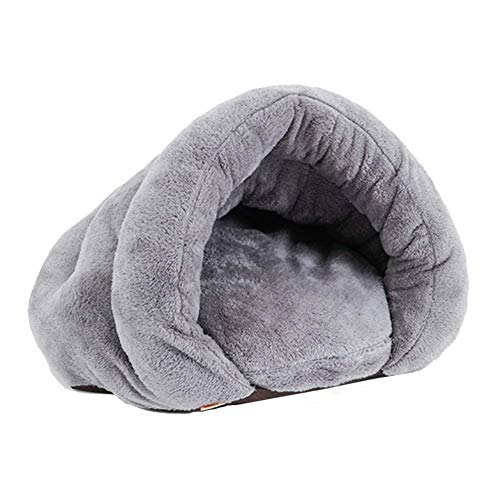 LIUCS Kennels Warm Plush Cat Sleep Bag/Cozy Pet Cave Bed Nest, Indoor Pet Triangle Nest, for Cat Puppy Rabbit Small Animals (Color : Gray, Size : 50×50×36cm)