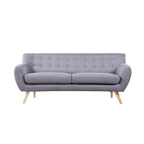 Mid-Century Modern Linen Fabric Sofa, Loveseat in Colors Light Grey, Polo Blue, Sky Blue, Yellow and Red (Light Grey, 3 Seater) -  - sofas-couches, living-room-furniture, living-room - 41FffXhwr%2BL. SS570  -
