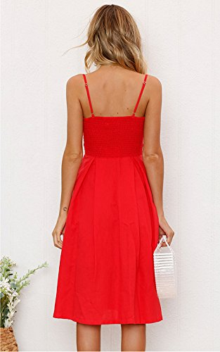 Dress Yidarton Backless Strap Down Sexy Red Midi Spaghetti Womens Tie Button Front Summer Dresses 7Hq7Tr