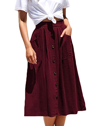Naggoo Womens Elastic Waist Vintage Calf Length Aline Skirt(M,Wine Red)