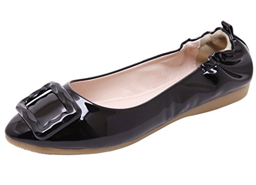 DQQ Women's Stretch Heel Slip-On Flat Shoes Black EsOH6vc