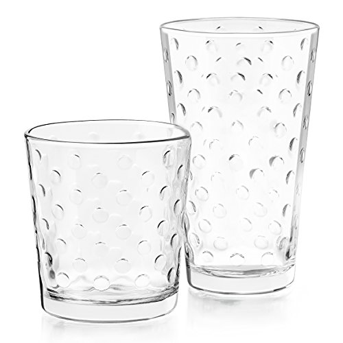 Libbey Awa 16-Piece Tumblers and Rocks Glass set (Drinking Bubble Glasses)