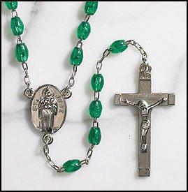 Saint St Jude Silver Gild Center Piece Devotional Emerald 6mm Oval Beads Rosary Crucifix -