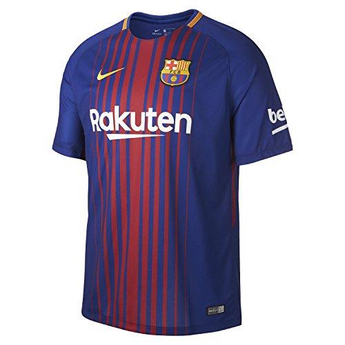 NIKE 2017/18 FC Barcelona Stadium Jersey with Sponsor [DEEP Royal Blue] (Mens Soccer Replica Jersey)