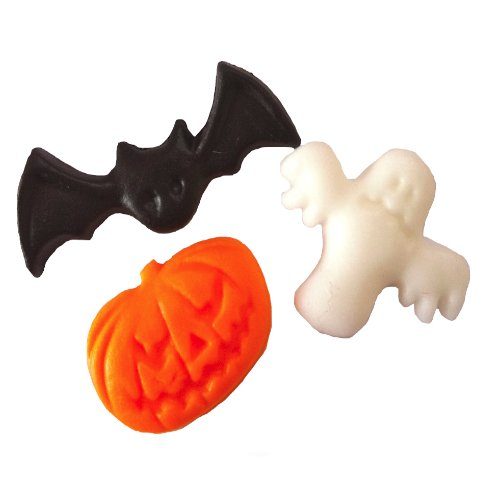 24 Assorted Halloween Sugarettes - Cake / Cupcake Topper - (Bats, Pumpkins, Ghosts)