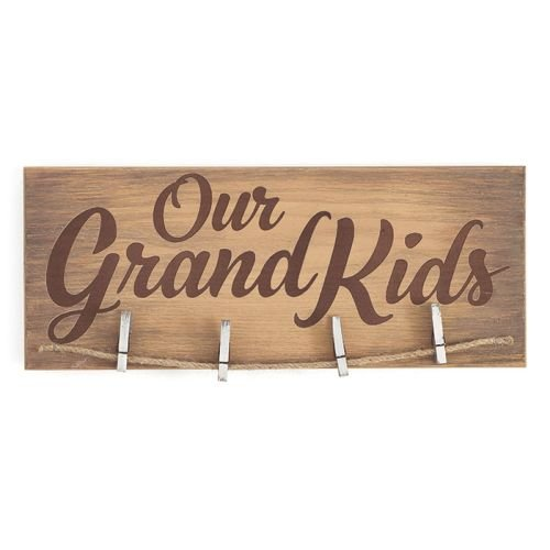 NATURAL WOOD CLIP PHOTO HOLDER - A Few of My Favorite Things or Our Grandkids (Our Grandkids)