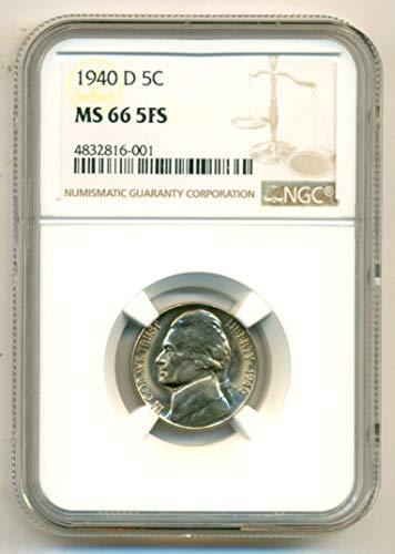 1940 D Jefferson Nickel MS66 5FS NGC (Mint Ngc Jefferson Nickel)