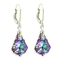 Queenberry Vitrial Light Purple Swarovski Elements Crystal Sterling Silver Leverback Dangle Earrings