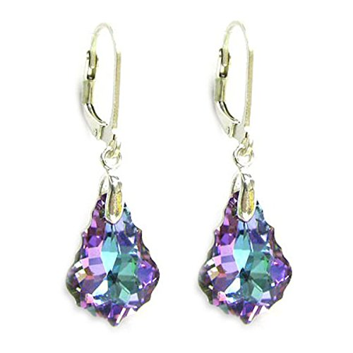 Vitrial Light Purple Sterling Silver Leverback Dangle Earrings made with Swarovski Crystal ()