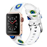 WISHTA Compatible with Apple Watch Band 38mm 42mm 40mm 44mm, Women Men Pattern Printed Rubber Straps Replacement Sports Fan Wristbands for iWatch Series 4/3/2/1 (Flower 14, 42mm/44mm)