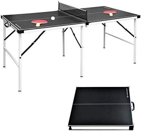 Win.Max Mesa de ping pong de mesa, tamaño mediano, plegable, con red, para interior y exterior