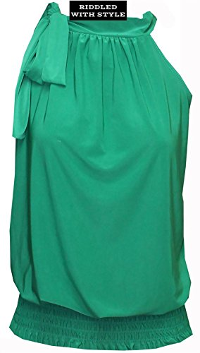 Nouvelle Soirée Nœud Papillon Haut Chemisier Ruché Drapée Femmes Licou Flatteuse Partie Jade Vert