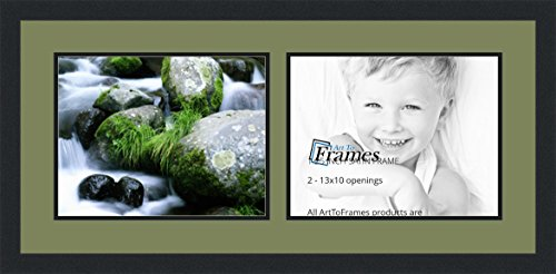 ArtToFrames Collage Photo Frame Double Mat with 2-10x13 Openings and Satin Black Frame