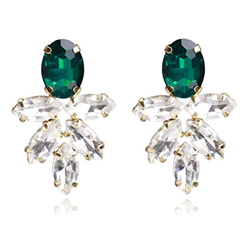 Goddess Green Ring - Unicra Vintage Emerald Earrings Studs Wedding Bridal Dangle Earrings for Brides and Bridesmaids