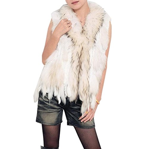 Minetom Mujer Otoño Invierno Gilet Calentar Chaleco Sin Mangas Tapas Elegante Abrigos Chaqueta Blanco