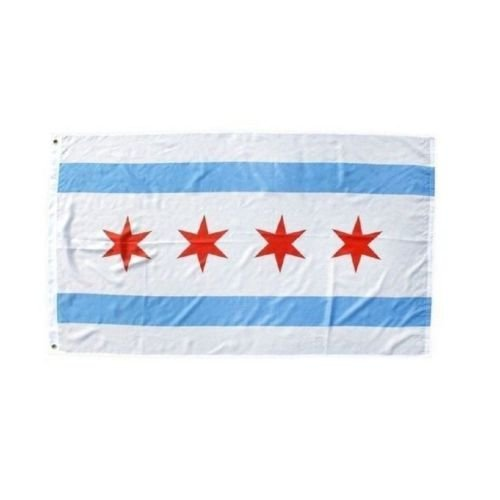 Moon Knives 12''x18'' City of Chicago Boat Motorcycle Flag Brass Grommets - Party Decorations Supplies for Parades - Prime Outside, Garden, Men Cave Decor -