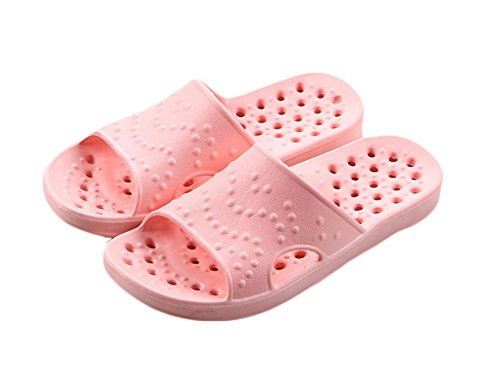 Auspicious beginning Women and Men Fashion Hollow out Sandal Bathroom Slippers D-pink SHGJmgEe7