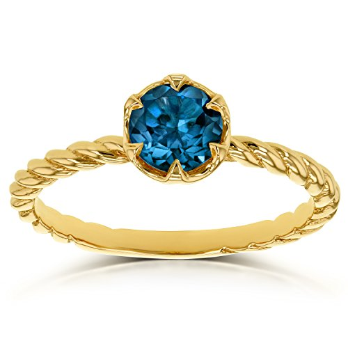 London Blue Topaz Twisted Solitaire Ring 1/2 CTW in 14k Yellow Gold (Square Ring Topaz Solitaire Blue)
