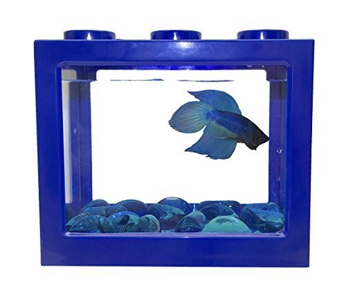 Kids Stacking Block - Betta Fish Tank / Aquarium - Piggy Bank - Terrarium - Available in Multiple colors with USB Led Light, Includes Free Gift of 15 Glass Pebbles, (Diy Coin Bank)