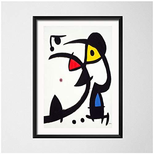NIEMENGZHEN Impresion en Lienzo Joan Miro Surrealismo Moderno Pinturas artisticas Cuadro Abstracto Arte Retro Lienzo Pintura Poster Wall Home Decor 23 6x 31 4 (60x80cm) Sin Marco A