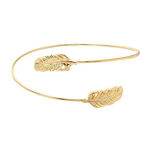 - SENFAI Gold and Silver Rose gold Double Leaf Bracelet Bangles for Women (gold)