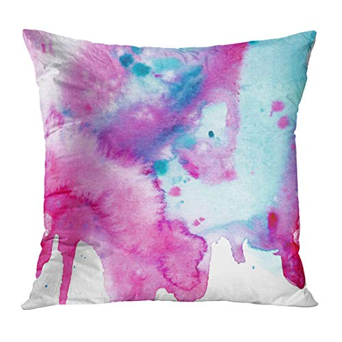 lowcases Ombre Hand Made Watercolor in Turquoise Blue and Pink Color Abstract Aquarelle Artistic Blot Brush Custom Square Size 18 x 18 Inches Home Decor Cushion Pillow Cover ()