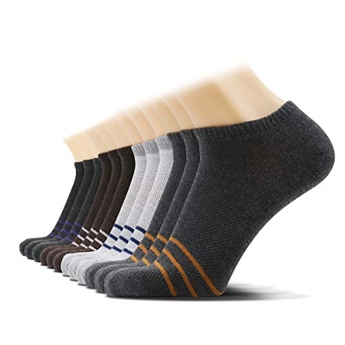 - 12 Pairs Men's Low Cut No Show Modal Athletic Cotton Socks 4 Color Super Soft Durable Casual Socks by SOX TOWN (Pinstripe)