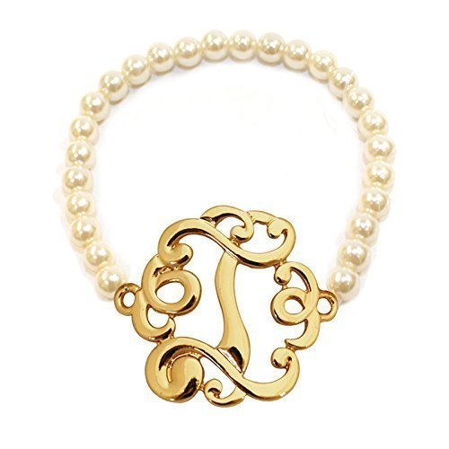 [I] Handmade Gift Initial Monogram with Pearl Stretch Bracelet - Pearl Initial Bracelet