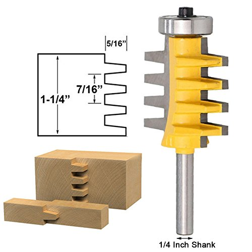 Bestgle Reversible Finger Glue Joint Router Bit, 1/4-Inch (Shank Finger)