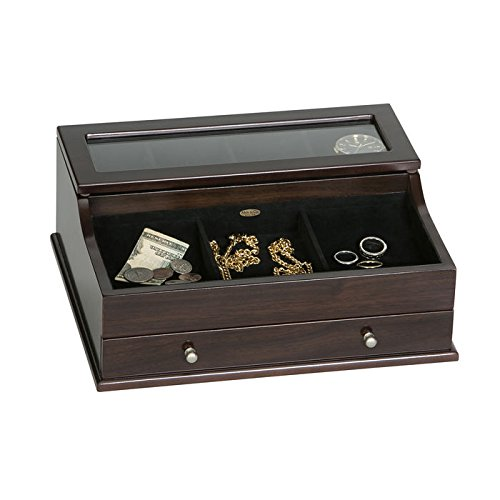 Mele & Co. Hampden Mens Glass Top Wooden Dresser Top Valet (1 Drawer, Mahogany Finish)