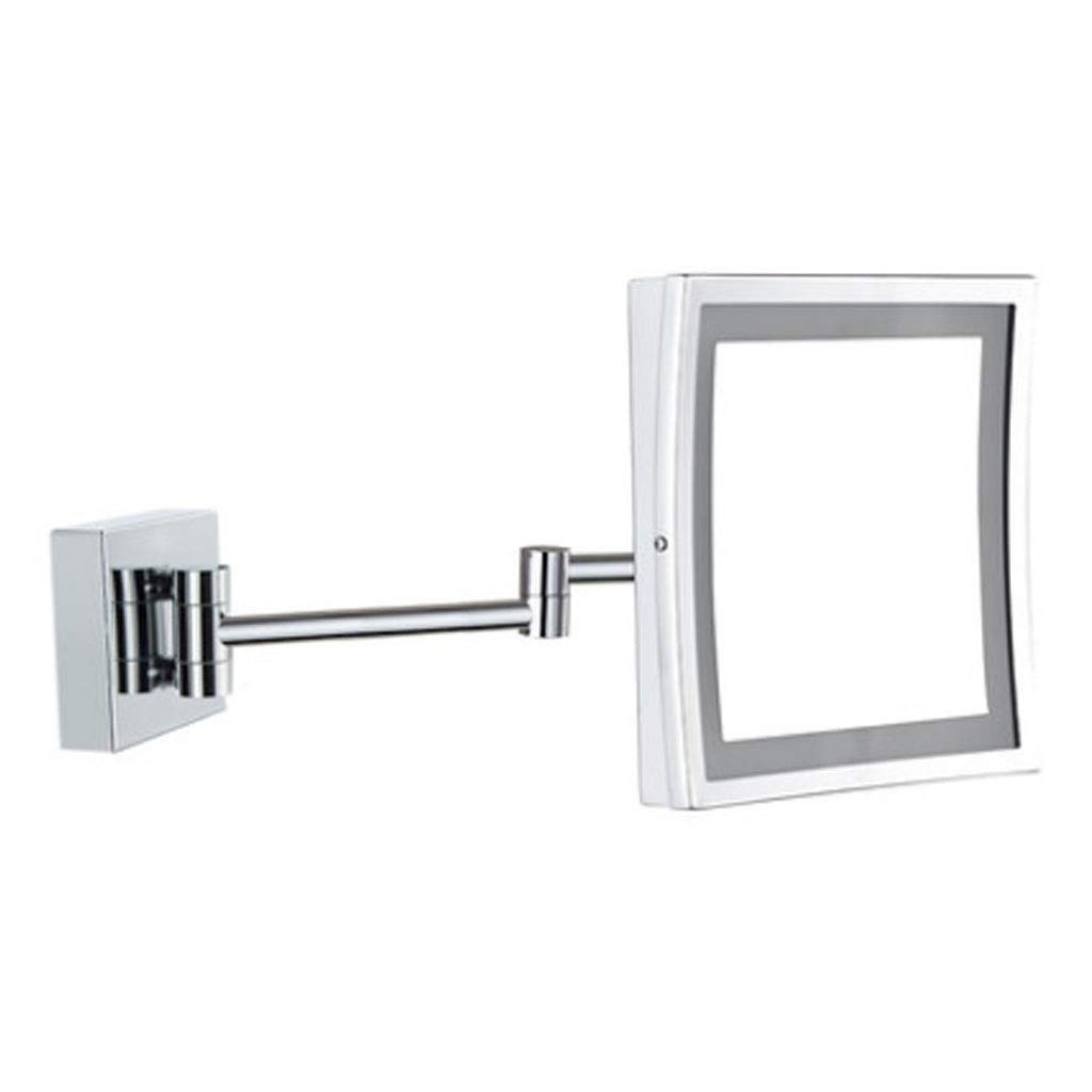 Silver 21x16cm Wall-Mounted Mirrors Bathroom Vanity Mirror LED Light Single-Sided Magnifying Mirror Hotel Folding Telescopic Mirror Square Wall Mirror Girl Gift (color   Silver, Size   21x16cm)