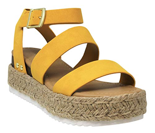MVE Shoes Womens Stylish Comfortable Platform Strappy Espadrille Flatforms, Mstr Nbpu 9 ()
