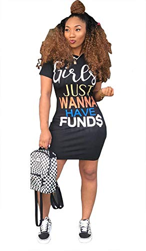 - LAJIOJIO Women's Summer Street Fashion Letters Printed Black Tee Tunic Tops Dress Party Clubwear Small X-Large