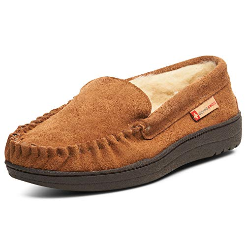 alpine swiss Men's Yukon Suede Shearling Slip On Moccasin Slippers, Chestnut, 12 D(M) US