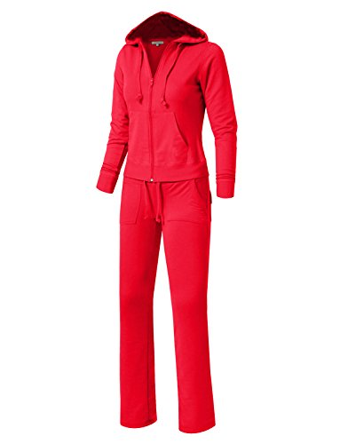 Red Velour Hoodie - NE PEOPLE Womens Velour/Terry Hoodie Sweatsuit Set NEWWTS01-RED-XXL