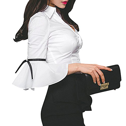 Y&Z Women Blouse V Neck Long Sleeve Lotus Black Shirt Blouse Tops (M, BS19-White) -