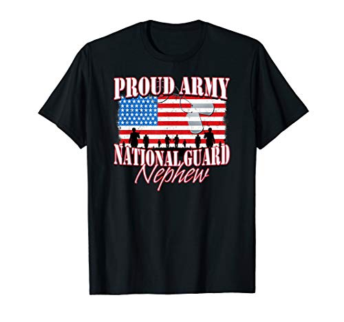 Proud Army National Guard Nephew Dog Tag Flag Shirt ()