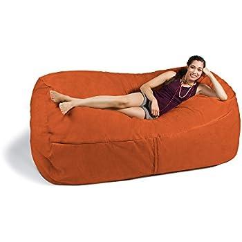 Amazon Com Jaxx 7 Ft Giant Bean Bag Sofa Mandarin