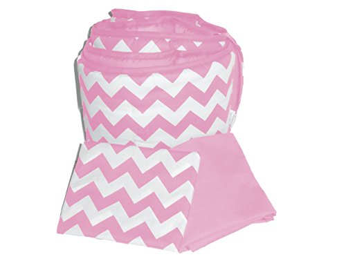 Baby Doll Bedding Chevron Round Crib Bumper and Sheet Set, Pink ()