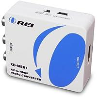 OREI XD-M901 AV Composite Video/Audio RCA CVBS to HDMI Converter - Upscales to 720p/1080p
